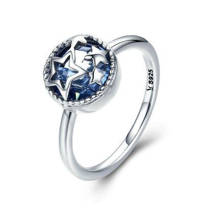 Ring - Blue Star Crystal Sterling Silver Ring