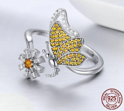 Ring - Butterfly & Daisy Sterling Silver Ring