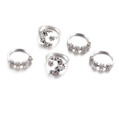 Ring - Celestial Crescent Moon & Stars Ring Set