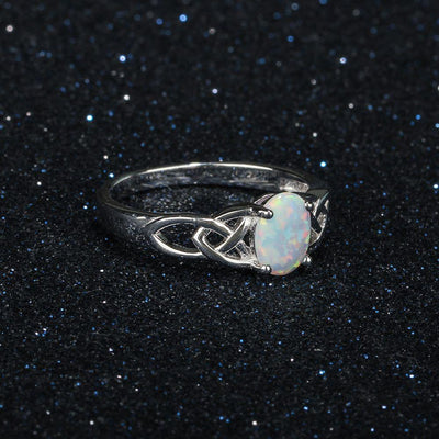 Ring - Celtic Fire Opal Silver Ring