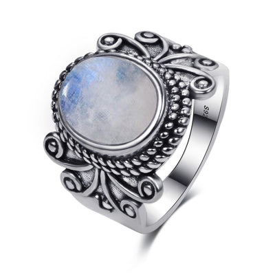 Ring - Classic Oval Moonstone Silver Ring