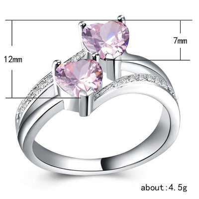 Ring - Couple Heart Crystal Ring