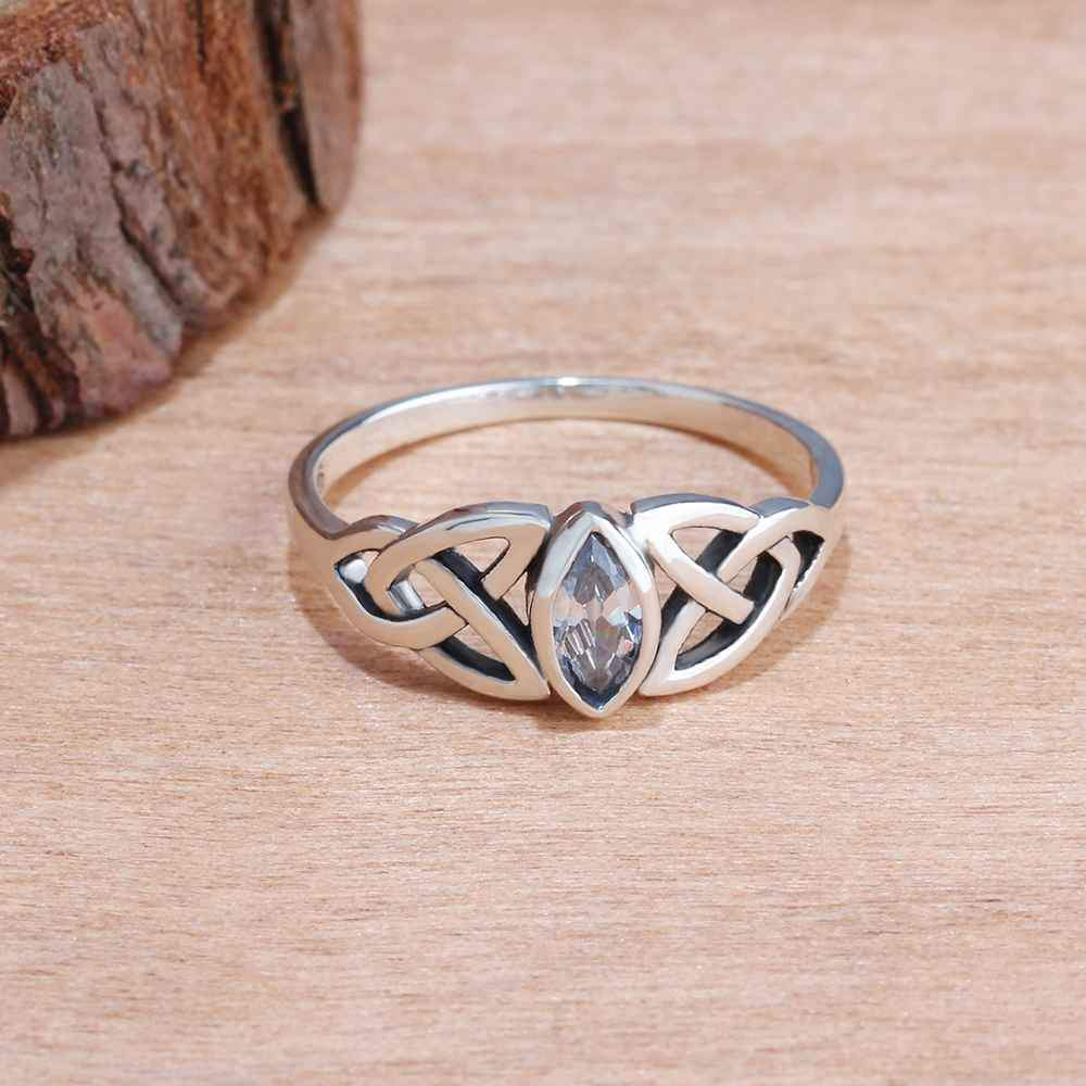 Crystal Celtic Knot Sterling Silver Ring - The Enchanted Forest