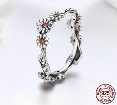 Ring - Crystal Daisies Sterling Silver Ring