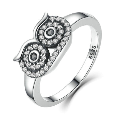 Ring - Crystal Owl Silver Ring