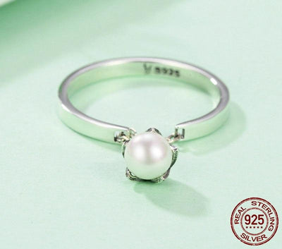 Ring - Dangling Pearl Flower Sterling Silver Ring