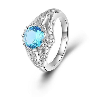Ring - Flower Aquamarine Silver Ring