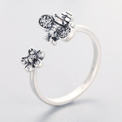 Ring - Flower & Bee Sterling Silver Open Ring
