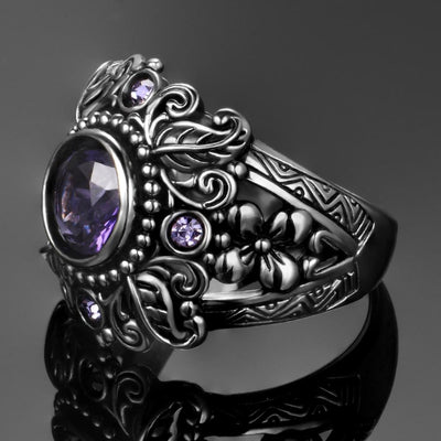 Ring - Flower Purple Amethyst Ring