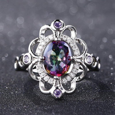 Ring - Flower Rainbow Topaz Silver Ring