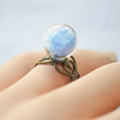 Ring - Glow In The Dark Glass Ball Heart Ring