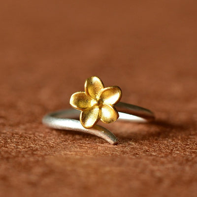 Ring - Golden Cherry Blossom Silver Ring