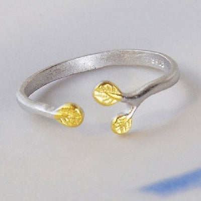 Ring - Golden Leaves Silver Open Ring