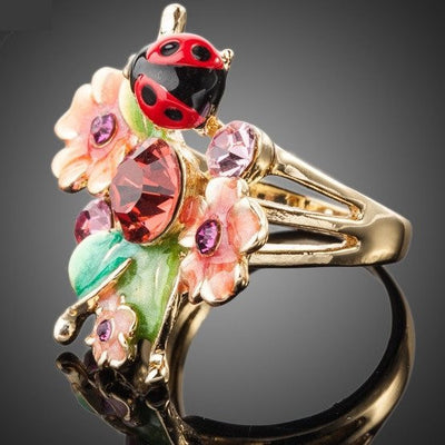 Ring - Ladybug & Flowers Crystal Ring