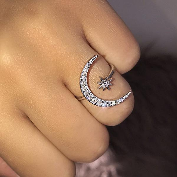 Ring - Lovely Moon & Star Ring