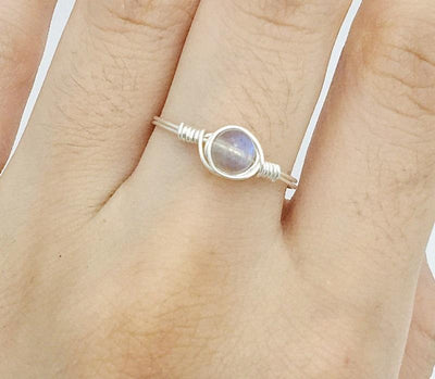 Ring - Minimalist Moonstone Sterling Silver Ring