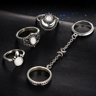 Ring - Moon & Sun Opal Ring Set