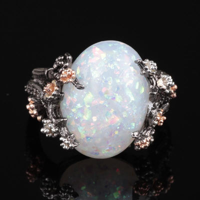 Ring - Mystical Tree Opal Black Gold Ring