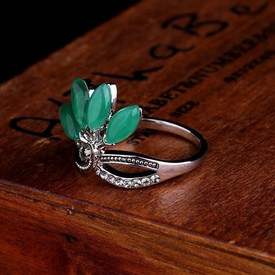 Ring - Natural Agate Jade Crystal Ring