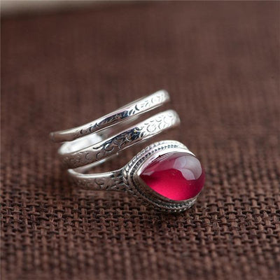 Ring - Natural Stone Sterling Silver Wrap Ring