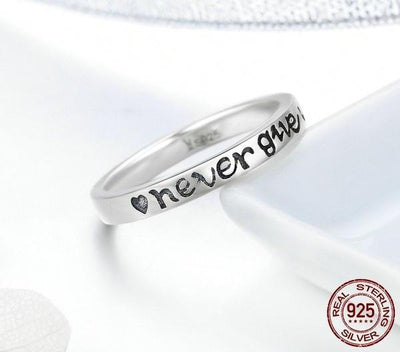 "Ring - ""Never Give Up"" Inspirational Ring"