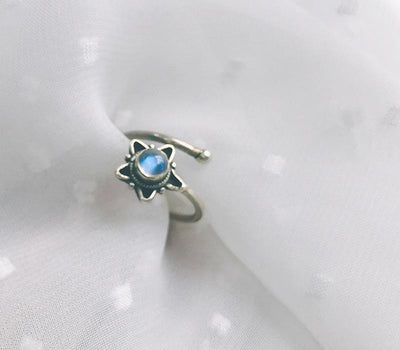 Ring - Pentagram Moonstone Sterling Silver Ring
