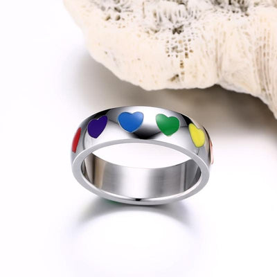 Ring - Rainbow Hearts Stainless Steel Ring
