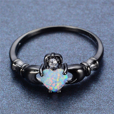 Ring - Rainbow Opal Heart Black Gold Claddagh Ring