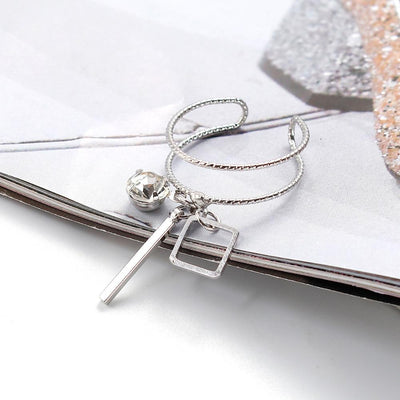 Ring - Rhinestone Crystal Tassel Open Ring