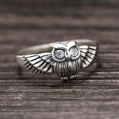 Ring - Vintage Style Owl Sterling Silver Ring