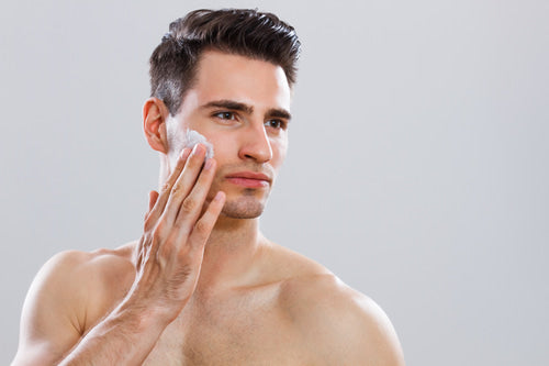 Man practicing Men's facial care