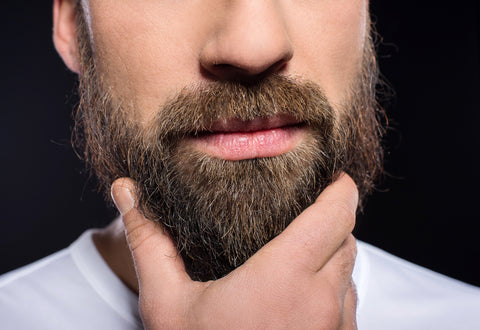 close-up of man with hand on his beard