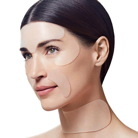 woman wearing SiO Beauty patches to look younger