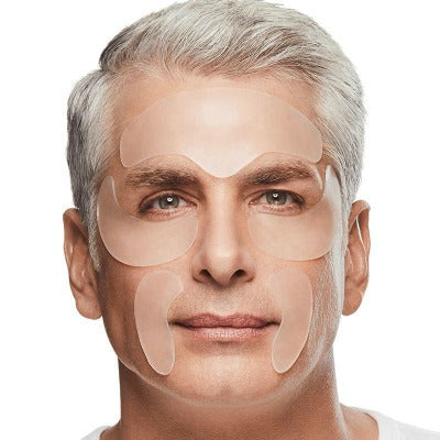 man wearing SiO for Him patches to help prevent men's oily skin