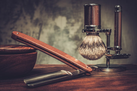 shaving set on wooden tabletop