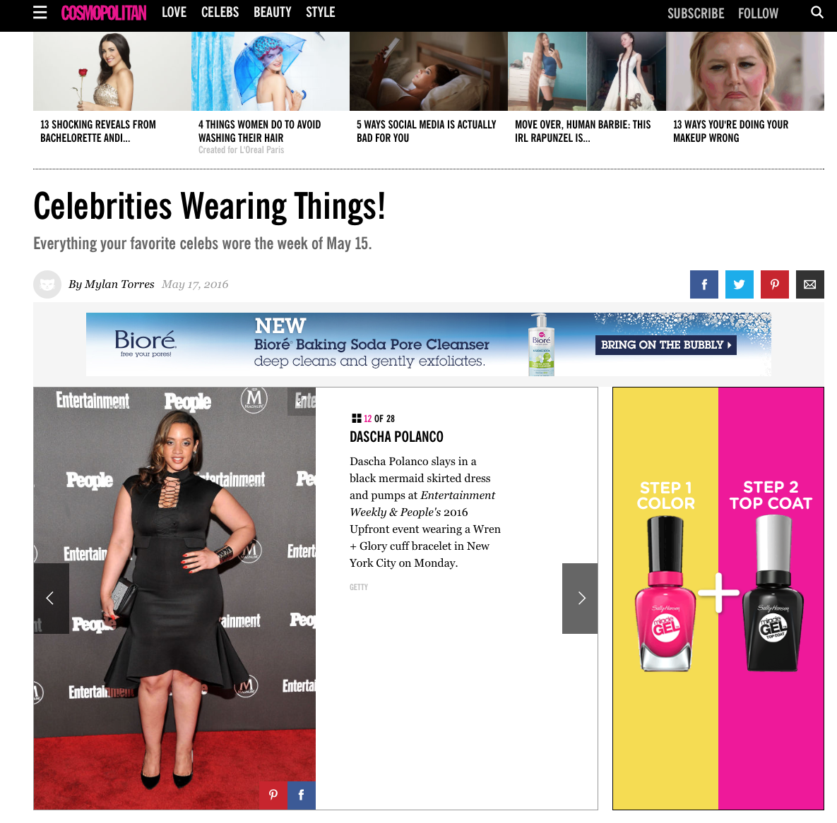 ORANGE IS THE NEW BLACK'S DASCHA POLANCO WEARS W+G FEATURED ON COSMOPOLITAN.COM