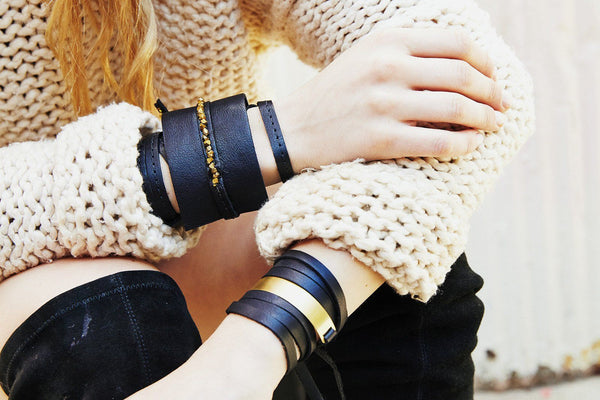 LEATHER AND METAL WRAP BRACELET