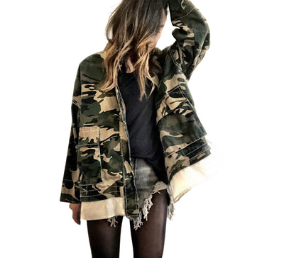 'CAMO THOUGHTS' DENIM JACKET