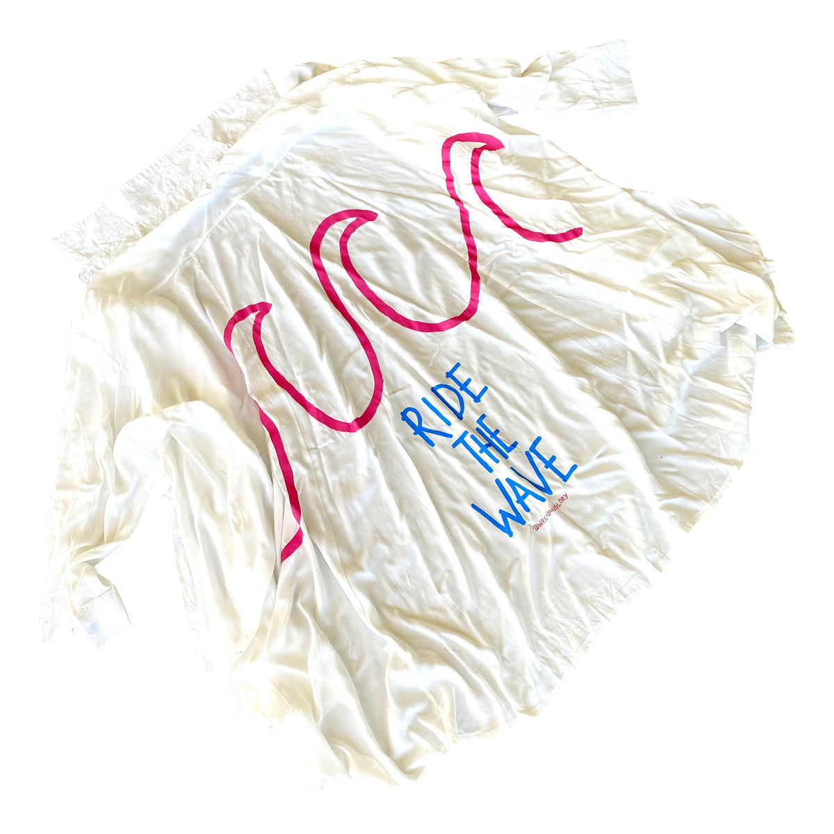 Long, button down shirt. Can be left open, buttoned, or tied in the front Bright pink large waves, with RIDE THE WAVE painted in blue on back. Signed @wrenandglory.
