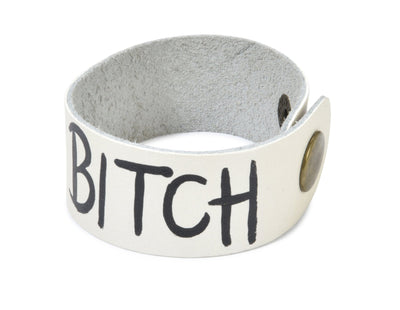 'BAD B*TCH' PAINTED LEATHER BRACELET