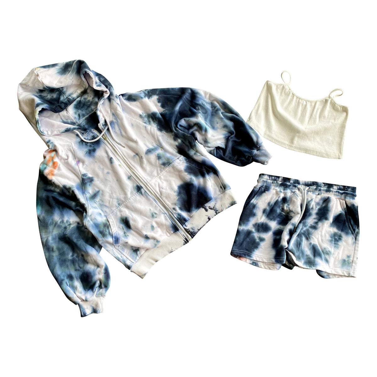 Zip up hoodie, shorts and a little crop top set. Tie Dyed with black dye. Signed @wrenandglory.