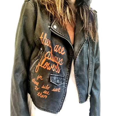 'PEACE N FLOWERS' LEATHER JACKET