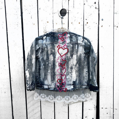 'PINK LOVED' DENIM JACKET - GIRLS