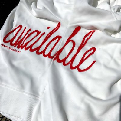 'AVAILABLE' PAINTED SWEATSHIRT