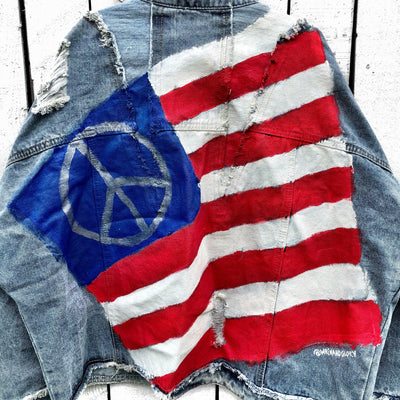 'PEACE FLAG' DENIM JACKET