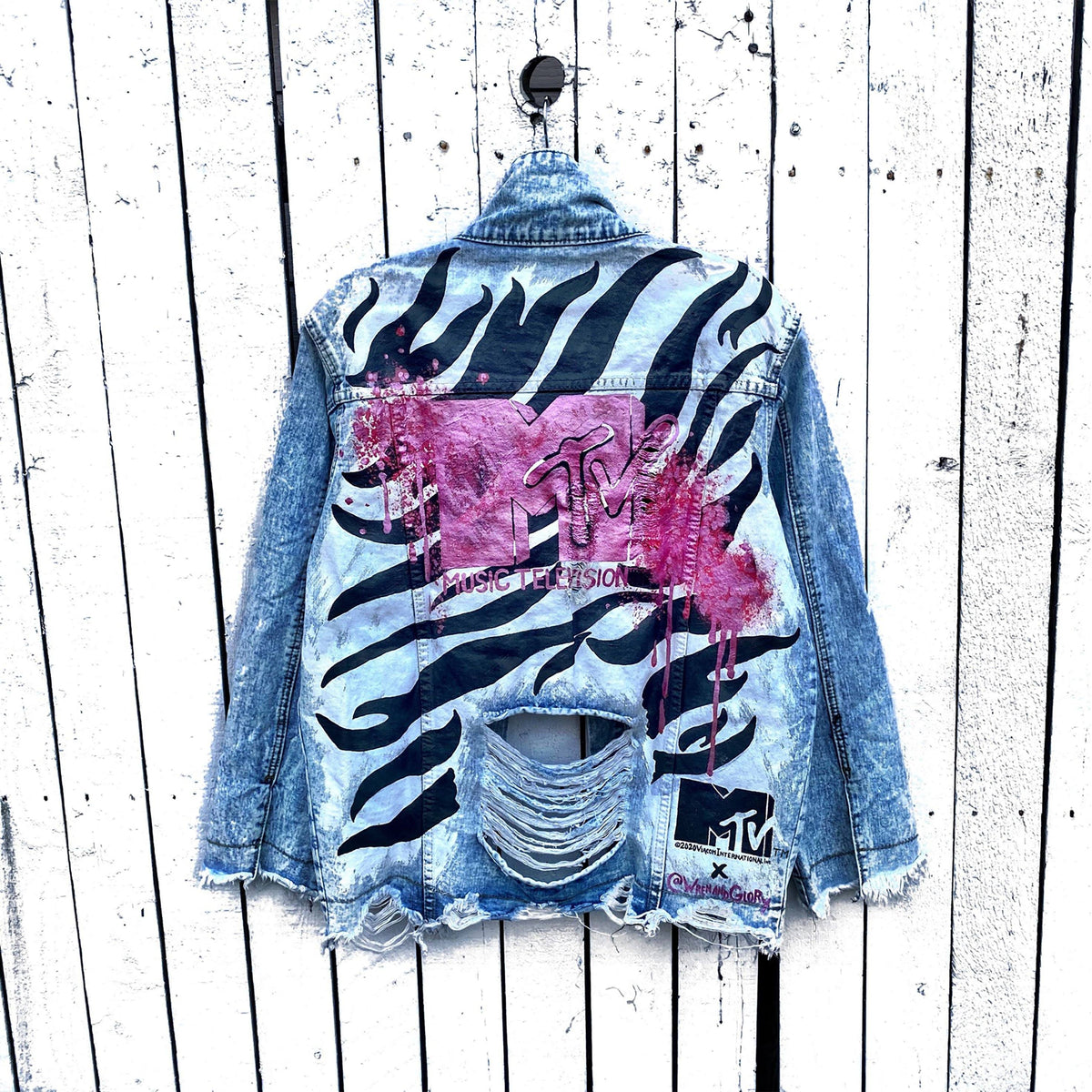 WG x MTV 'MY MTV STRIPES' DENIM JACKET