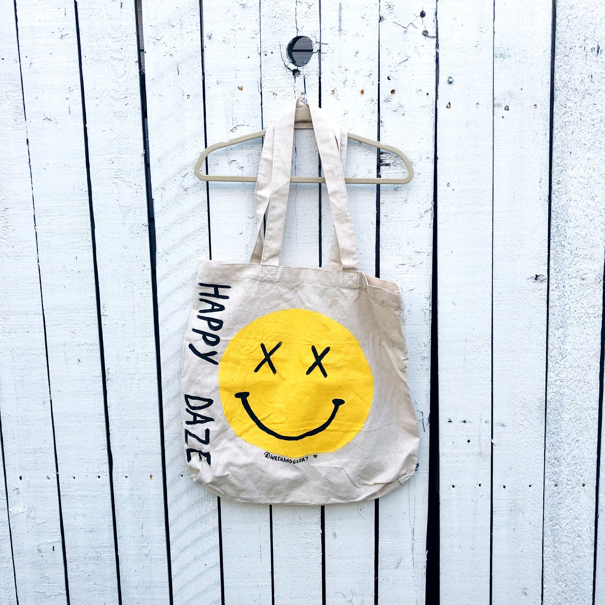 'HAPPY DAZE' PAINTED TOTE BAG