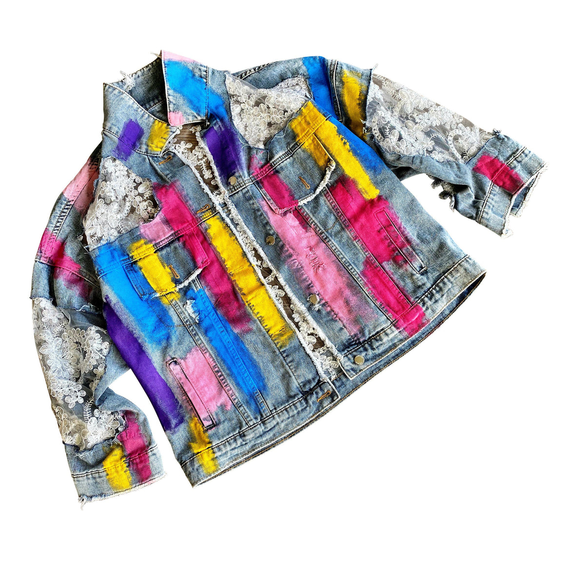 'RAINBOWS AND LACE' DENIM JACKET