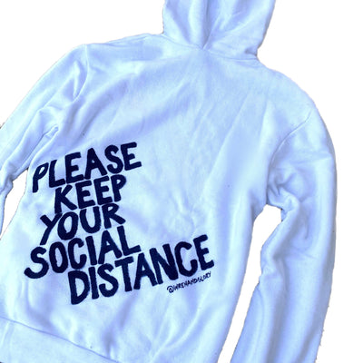 'I NEED DISTANCE' PAINTED HOODIE