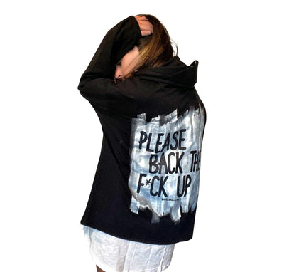 'BACK UP' PAINTED HOODIE (with removable face shield)